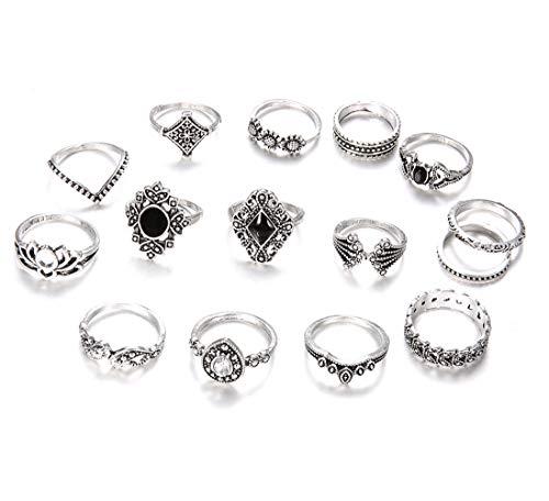 Soleebee 15 Stück Damen Vintage Knuckle Ringe