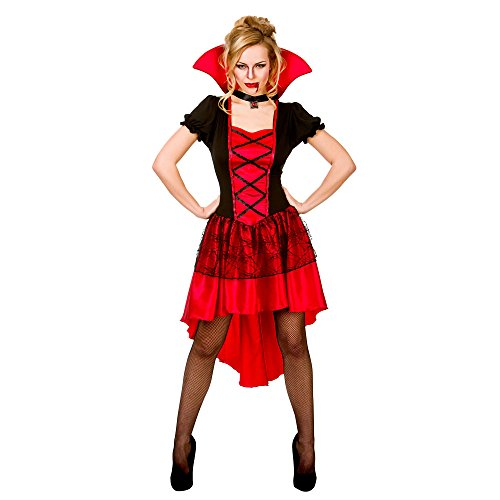 Adults Ladies Glamorous Vamp Costume for Vampire Dracula Halloween Fancy Dress (M) Medium UK 14-16 Bust 38-40
