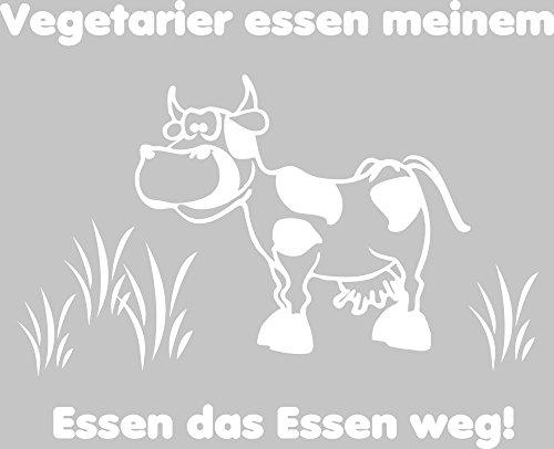 GRAZDesign 620337_50_010 Wandtattoo Wand-Spruch Vegetarier Essen Meinem Essen … lustig mit Kuh | Küchen-Sprüche für Küchenwände | Küchentattoo im Essbereich (62x50cm//010 Weiss)