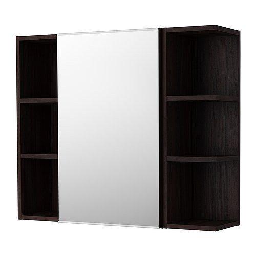 Ikea lillången Armario con espejo con una puerta y cierre de 2estanterías; en marrón