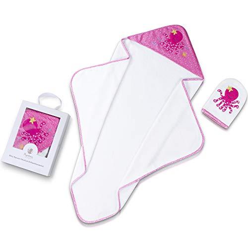 Pigubear Premium Baby Kapuzenhandtuch und Waschlappen Set, ÖKOTEX, hochwertig in rosa bestickt für...