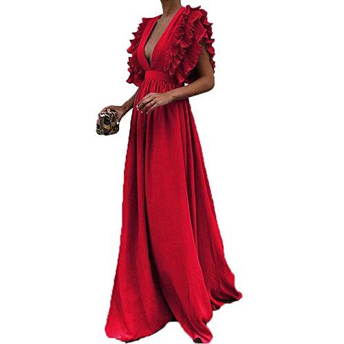 Abendkleid Dasongff Damen Elegant Tiefer V-Ausschnitt Partykleid Bodycon Sommerkleid Frauen Fly Hülse Maxikleid Kurzarm Minikleid Vintage Dress -
