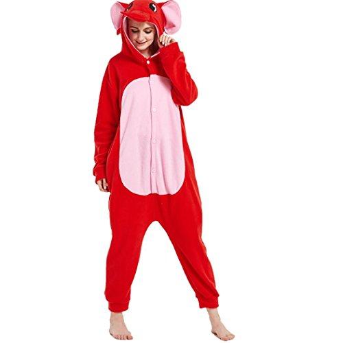 HXQ Rot Elefant Pyjama Tieroutfit Schlafanzug Onesize Erwachsene Unisex Fleece-Overall Kostüm , S: (height (Muster Elefanten Halloween Kostüm)