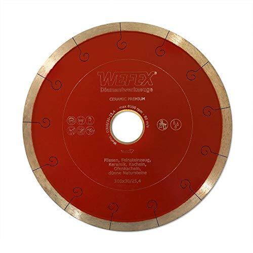 WEFEX Diamant-Trennscheibe Keramik-Premium 300 x 30/25,4 mm Kacheln Feinsteinzeug Keramik Fliesen -