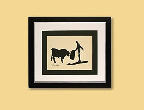Kunstdruck Bild Pablo Picasso Bullfighter signiert mit Rahmen 51 x 44 cm PREIS-HIT