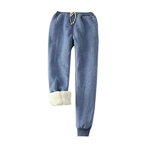 Pantalon Thermique pour Les Femmes d'hiver en Peluche Plus la Taille Pantalon LuckyGirls Chic Survêtement Large Taille Haute Pantalon de Printemps Pas Cher Femme Harem Dress avec Ceintu