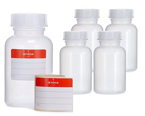 Octopus 5X 250 ml Weithalsflaschen aus LDPE mit Schraubverschluß, Leere Chemiekalienflaschen, Laborflaschen mit Deckel als Aufbewahrungsbehälter für Labor, Küche oder Hobby