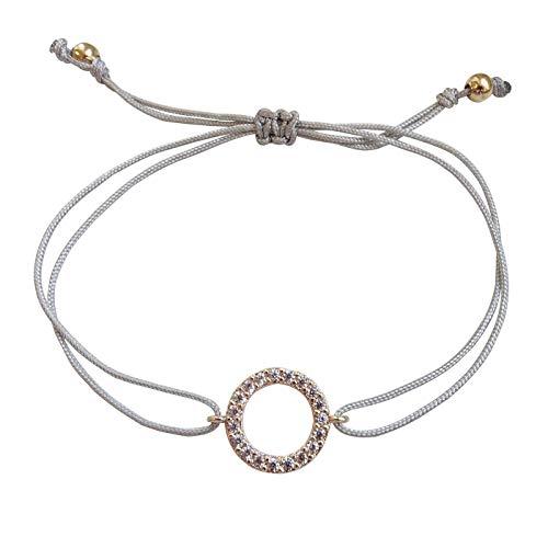 Smilla Brav® Karma Yoga Damen-Armband Chakra-Schmuck mit Zirkonia – grau/Rosegold – VH28