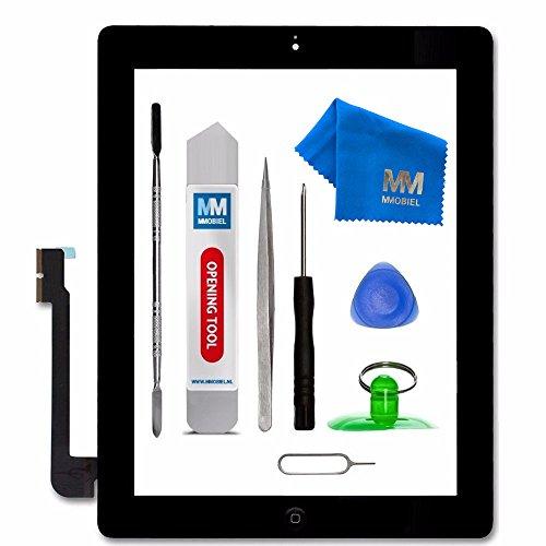MMOBIEL Digitizer Display Glas für IPad 3 (Schwarz) Touchscreen Ersatzteil Inkl Flex Home Button + Kamera Halterung + Klebesticker und Werkzeugset mit Anleitung (Ipad 1 Digitizer)