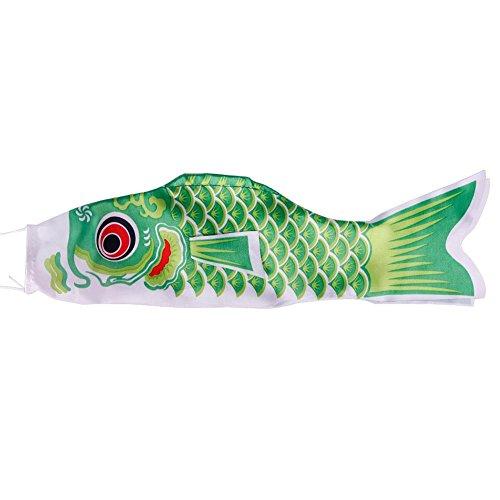 (calistouk 70cm Koi Nobori Karpfen Wind Socke Koi-Nobori Fisch Flagge Hof Aufhängen Decor grün)