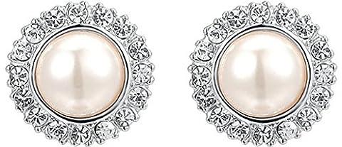 Gnzoe Women's Girl's 18k Gold Plated Stud Earrings Crystal CZ Pearl Plating White Gold, Antiallergy
