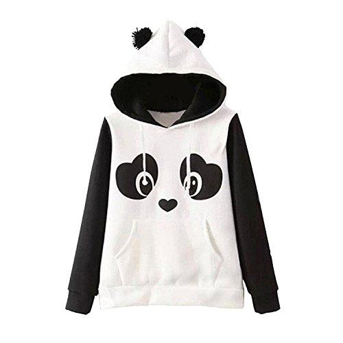 Petalum Damen Hoodie Sweatshirt Frühling Basic Süß Panda Aufdruck Plüsch Ohren Kapuzen Langarm Hooded Shirt Warm Jumper Kapuzenpullover Langarmshirt Pullover Streetwear
