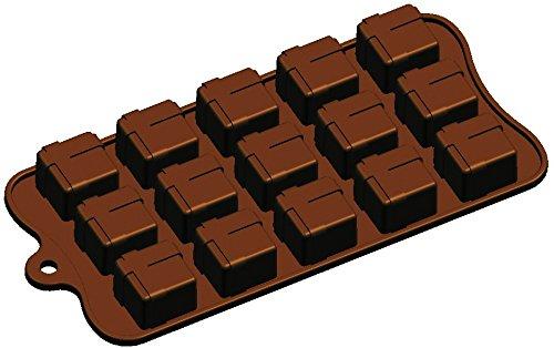 Moule en Silicone 20 x 10 x 2 cm en Silicone Cadeau Chocolat Gelée Glace Gâteau Savon 15-Cavity Moule, Marron