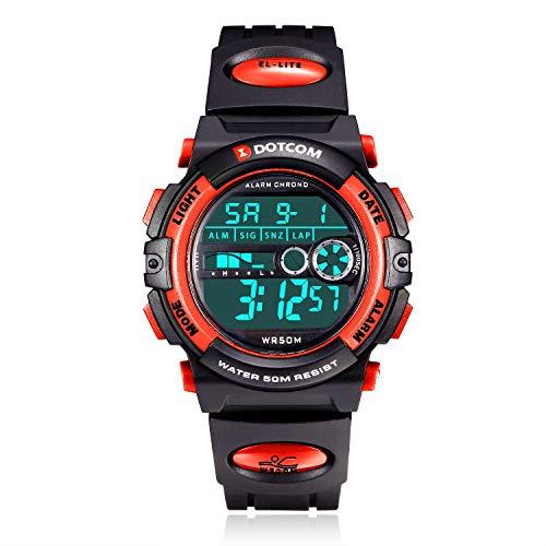 Socico Niños Digital Relojes para Niños Deportes–5 ATM Reloj Deportivo Impermeable al Aire Libre con Alarma Cronómetro,Relojes de Pulsera Electrónicos para Niños.