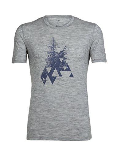 Icebreaker Herren Tech Lite Short Sleeve Crewe Evergreen Geo T-Shirt, Metro Hthr, L (Icebreaker-wolle T-shirt)