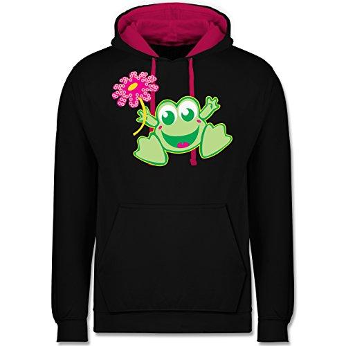 Blumen & Pflanzen - Frosch mit Blume - Kontrast Hoodie Schwarz/Fuchsia