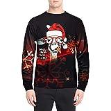 SEWORLD Weihnachten Christmas Herren Abend Party Männer Weihnachtskostüm Sankt Drucken Urlaub Humor Langarm T-Shirt Xmas Top(X1-4-rot3,EU-48/CN-M)