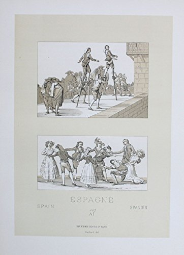 Spain Spanien XVIII Jh. Trachten costumes Lithographie lithograph