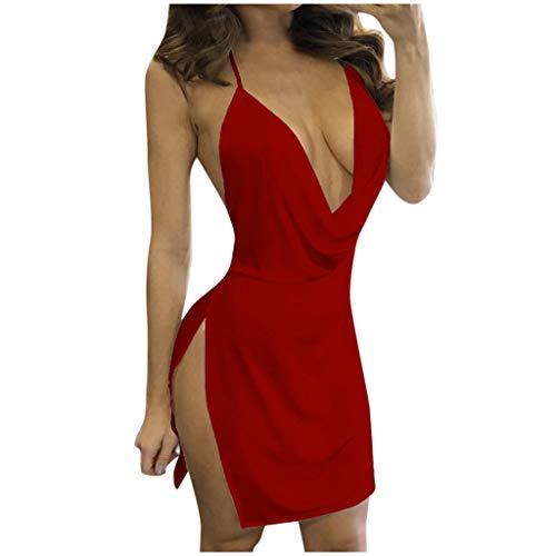 VJGOAL Kleider Damen Sommer Sexy Einfarbig Tiefer V-Ausschnitt Öffnen Sie Sich Zurück Split Sling Mini Dresses for Women (Halloween-kostüme Junge 2019 2-jähriger)