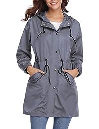 e82990f06f2 Aibrou Abrigo de Impermeable Ligero Chaqueta con Capucha para Mujer