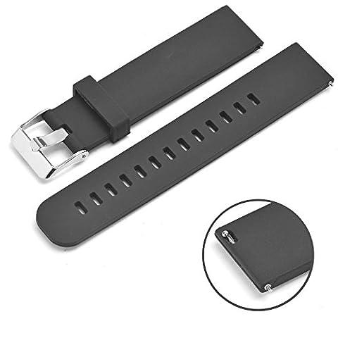 Rerii 20mm Silikon-Uhrenarmband mit Quick-Release Pins für Samsung Gear S2 Classic SM-R7320,Moto 360 2 42mm Man,Pebble Time Round und andere Uhr mit 20mm Band