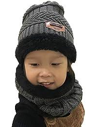 Boomly Bebé Sombrero De Tejer Conjunto De Scraf Forro Suave Sombrero De Invierno Calentar Espesar Sombrero De Lana Gorro Beanie para 2-10 Años De Edad Chicos Chicas