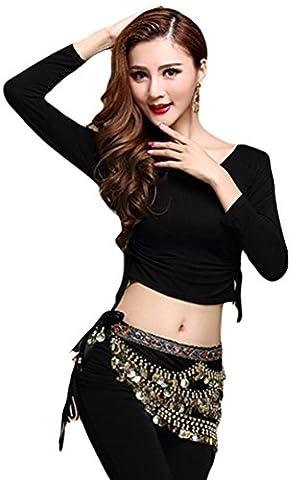 YiJee Damen Bauchtanz Tops Shirt Bandage Belly Dance Kostüm Schwarz 1 L (Bauchtanz-kostüme Amazon)