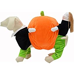 UEETEK Costume para Mascotas Disfraz para Perros Calabaza Halloween Traje Ropa para Perros Gatos size S
