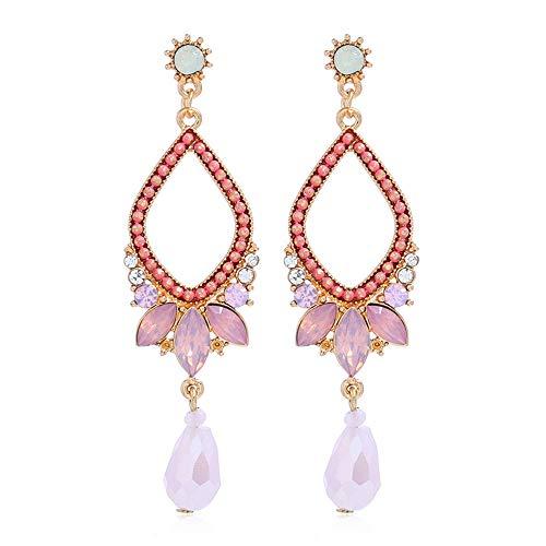 Lange Diamant Ohrringe Glas Tropfen Anhänger Ohrringe Frau Wassertropfen Geschenk Geschenkbox Pink 2PCS
