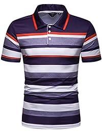 19eb8a497 waotier Camiseta De Manga Corta De Hombre Camiseta De Solapa Casual con  Estampado De Primavera Y