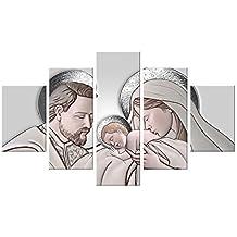 Vetrineinrete® Quadro su pannello in legno con sacra famiglia per ...