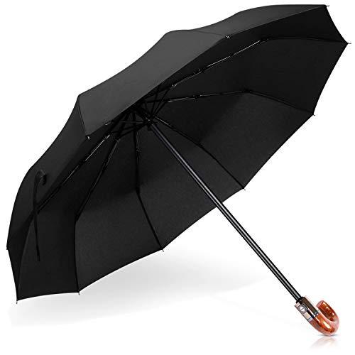 DORRISO Luxus Automatisches Öffnen/Schließen Regenschirm Windsicher Echt J-Holzgriff Dauerhafte Geschäft Reise Taschenschirm J-Griff Gelb