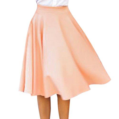 Eleery Neu Frau hohe Taillen Ebene Elastischer Ausgestelltes gefaltete lange Rock Kleider (Pink, 36)