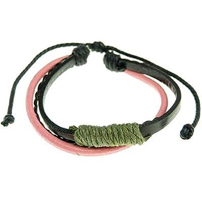 Bracelet Femme ou homme réglable ajustable cuir noir tresse similicuir fine et coton multicolore au choix
