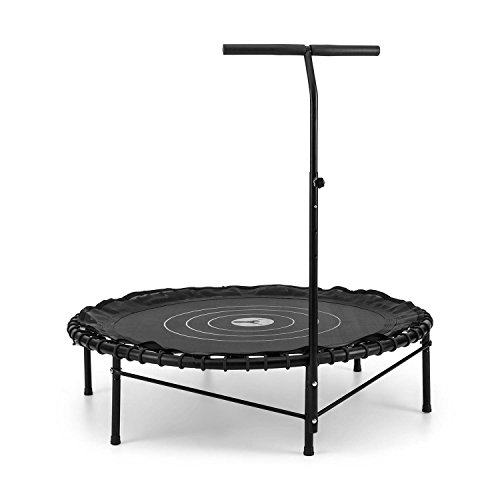 Kinder-indoor-heimtrainer (Klarfit Jumpadalic Trampolin Minitrampolin Indoortrampolin Gartentrampolin (122cm Durchmesser, gelenkschonende Federung, verstellbare Griffhöhe: 104cm/111cm/118cm) schwarz)