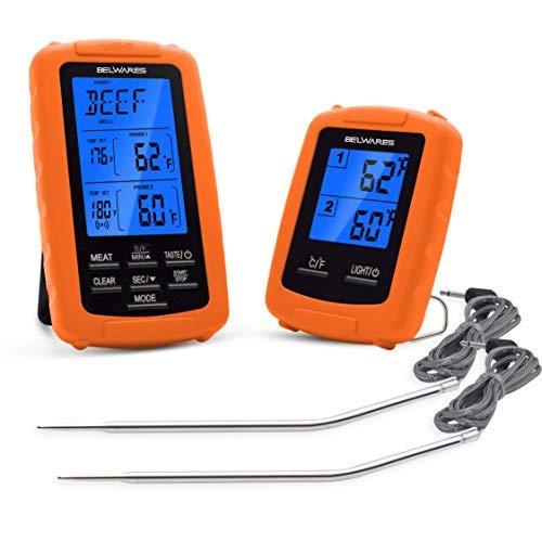 Belwares Digitales Fleischthermometer, kabellose Fernbedienung, Lebensmittelthermometer mit Dual-Sonden für Grillen, Backen, Kochen und Smoker, mit Timer und vorprogrammierten Temps -