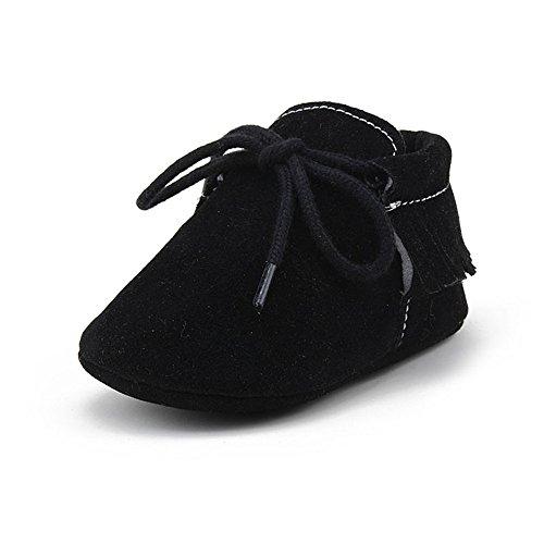 huhe Baby Jungen Krabbelschuhe Weiche Rutschfester Sohle Lauflernschuhe 0-6 Monate Schwarz (Kleid, Schuhe Jungs)