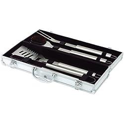 axentia Grillbesteck Set Edelstahl 4-teilig im Koffer - Grillkoffer aus Aluminium - Grillwerkzeug Edelstahl - Barbecue-Set mit Fleischgabel, Grillzange, Komfortwender, Grillbürste