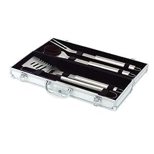 Top Star 291333 - Set di 4 utensili per barbecue in acciaio in ossidabile con confezione in alluminio, 43 cm