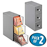 mDesign 2er-Set Küchen Organizer mit je drei Schubladen – Aufbewahrungsbox für Teebeutel, Kaffeepads, Süßungsmittel und mehr – Teekiste aus Kunststoff – grau/durchsichtig
