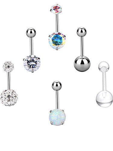6 Pieces 14 Gauge Belly Button Rings Stainless Steel Navel Rings Set Cubic Zirconia Body Piercing for Women Girls, 6 Styles (Belly Button Ring 14 Gauge)