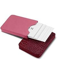 Lucrin-Funda para puerta en 2 partes para tarjetas de visita, diseño cocodrilo, color fucsia