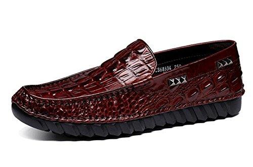 SHIXR Männer Slip-On Oxford Neue High-End Erbsen Schuhe Crocodile Pattern High-Grade erste Schicht aus Leder Breathable Schuhe Red