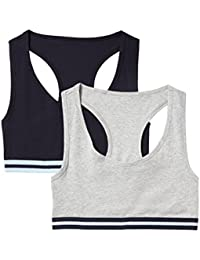 Marca Amazon - IRIS & LILLY Crop Top de Algodón para Mujer, Pack de 2