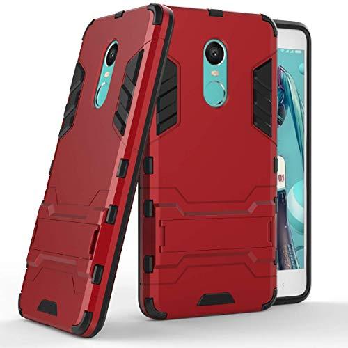 """Max Power Digital Funda para Xiaomi Redmi Note 4 y Redmi Note 4X (5.5"""") con Soporte - Carcasa híbrida antigolpes Resistente (Xiaomi Redmi Note 4, Rojo)"""