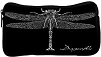 Snoogg Detailed Dragonfly Vector Poly Canvas Student Pen Pencil Case Coin Purse Utility Pouch Cosmetic Makeup Bag