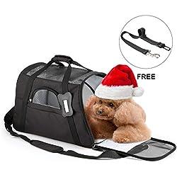 U-Kiss Transportín para Perros, Bolsa de Transporte para Mascotas Bolsa de Malla Transpirable de Viaje con Cremalleras de Seguridad Portador de Viaje de Color Negro