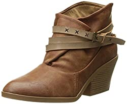 Qupid Womens Zora-07 Ankle Bootie, Camel, 6 M US