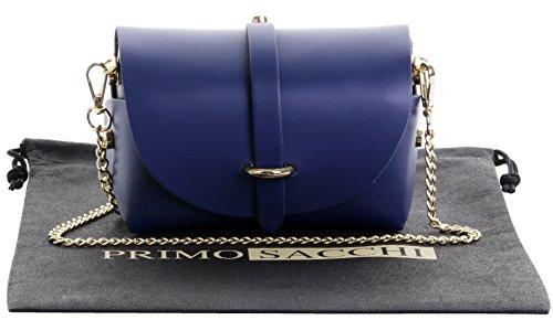 Italienisches Leder Mini kleine Mikro Umhängetaschen Abend Umhängetasche mit Metallkette Gurt.Enthält Marken schützende Staubbeutel Navy-Blau