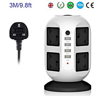 Tech Traders ® 3M/9.8ft Extension Lead,4 USB Ports 8 Way Outlets Tower Power Strip Vertical Socket with Surge Protector Overload Protection, Individual Switch, UK Plug and Universal for Home Office